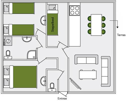 De Bosduif plattegrond | houten lodge voor 6 personen | Veluwe Lodges Otterlo