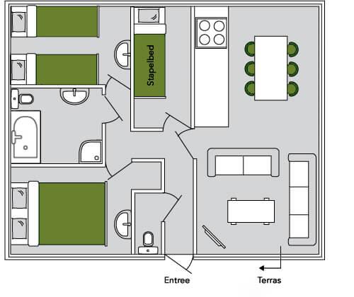 De Leeuwerik plattegrond | lodge voor 6 personen | Veluwe Lodges Otterlo