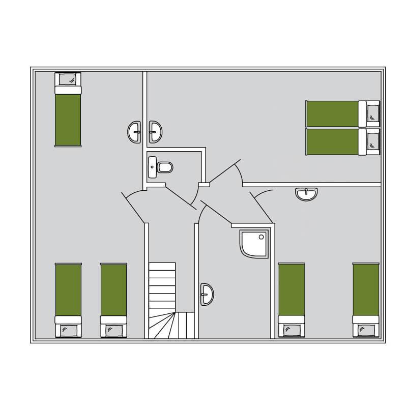 De Merel plattegrond 2 | Stoere houten lodge voor 9 personen | Veluwe Lodges Otterlo