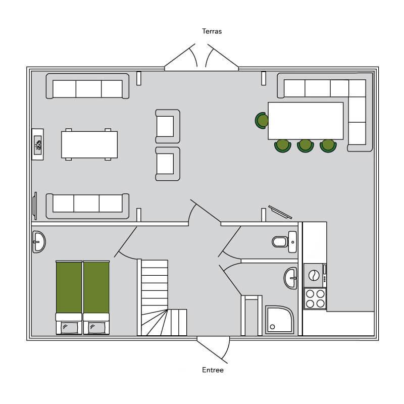 De Merel plattegrond 1 | Stoere houten lodge voor 9 personen | Veluwe Lodges Otterlo