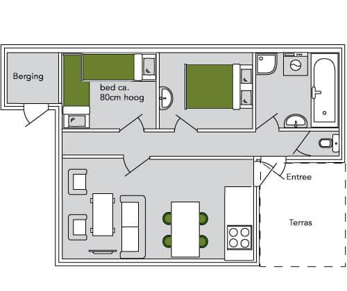 Het Roodborstje plattegrond | Romantische lodge voor 4 personen | Veluwe Lodges Otterlo