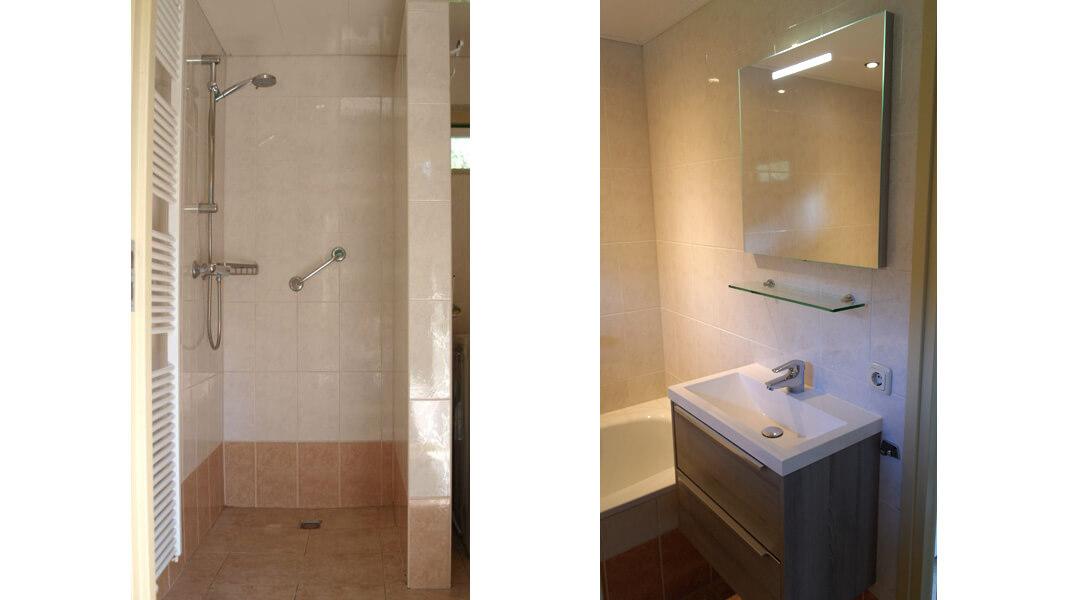 Het Roodborstje - badkamer met ligbad en douche | Romantische lodge voor 4 personen | Veluwe Lodges Otterlo